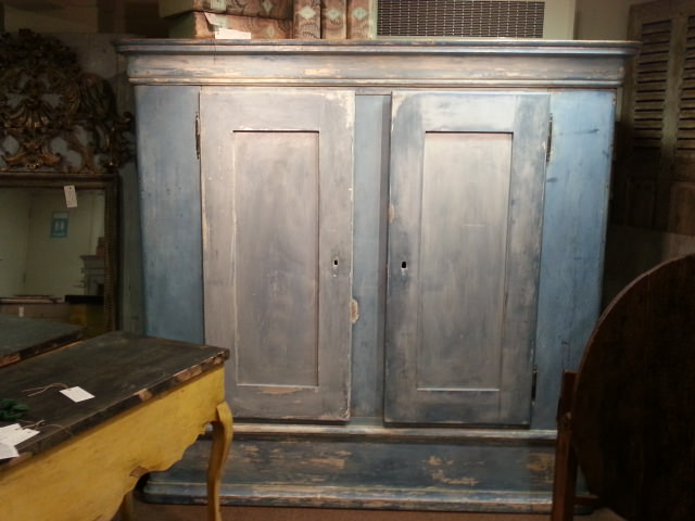 large double doored armoire cupboard in chalky blue gilli hanna decorative antiques. Black Bedroom Furniture Sets. Home Design Ideas